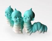Wormbaby figurine, Caterpillar baby head sculpture, Unusual figurine, Odd art object