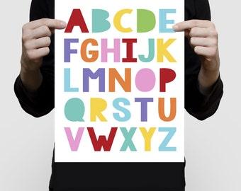"alphabet - 11x14"" print ABCs nursery art colourful children kids baby girl or boy gender neutral wall art - rainbow bright"