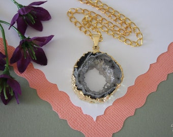 Druzy Necklace Gold, Geode Necklace, Crystal Necklace, Gold Geode Slice Druzy, GG5