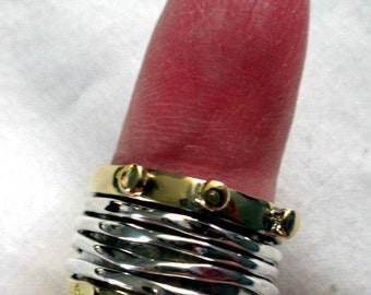 RING - FOUR - SPINNING -  spinner  - 4  Bands - Two Tone - 925 - Sterling Silver - Size 7 1/2   spinner124