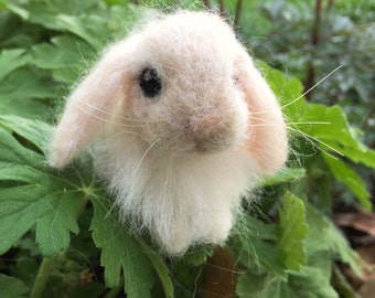 Needle Felted Lop Eared Baby Bunny Rabbit, Tan Angora, Luxury Pet