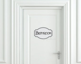 Bathroom door decal, vinyl letters, powder room decals, fancy frame, bathroom sticker, vinyl letters, door decal, bathroom door stickers art