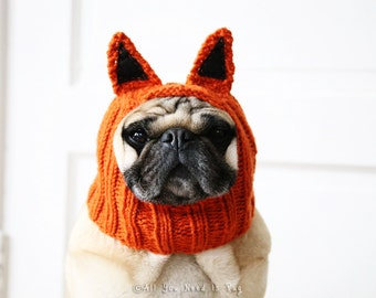Dog Hat - Fantastic Little Fox Hat - Pug Hat - French Bulldog Hat - Dog Clothing - Handmade Gift for Pet Lovers
