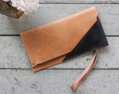 """Zippered Leather Clutch, Natural & Vintage Black, Accent Triangle // """"foldover clutch"""" in fg black by fullgive"""