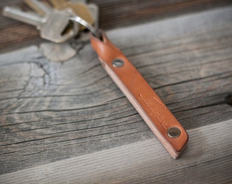 """Nude Leather Keychain w/ Free Personalization // """"the billy club"""" by fullgive in natural"""