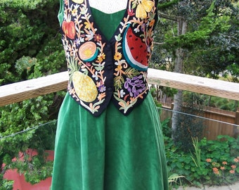 Boho Vest, Embroidered vest,  Tropical vest, Fruit vest,  Waiter vest, Waitress vest,  size S / M