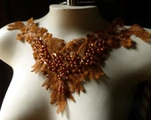Lace Applique in Copper Beaded Lace for Garments, Costume Design CA 46copper