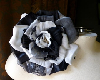 Silk Lace Rose Black & White for Bridal, Sashes, Millinery MF