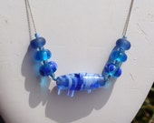 Artisan Glass Bead Set on Sterling Silver Vintage Necklace