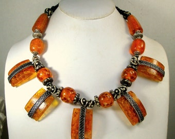 Amber Lucite Statement Necklace, Batiked OxBone and Silver Recycled Ecochic and OOAK By Rachelle Starr, Make That Entrance