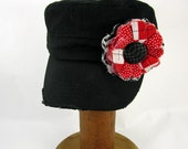 Black Cadet Cap with Fabric Flower Pin, adjustable cadet cap, removable fabric flower pin - black, red - BL11