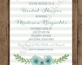 Custom Printed Floral Watercolor Bridal Shower Invitations - 1.00 each with envelope