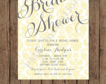 Custom Printed Yellow Gray Damask Bridal Shower Invitations - 1.00 each with envelope