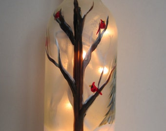 Winter Tree  with Cardinals Lighted  Wine Bottle
