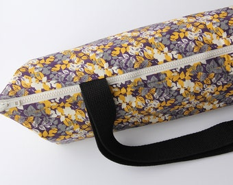 Yoga Mat Bag with Zipper in Autumn Leaves - Purple, Yellow, White and Gray
