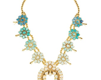Ombre Squash Blossom Necklace- Turquoise (with gold plating)