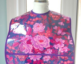 Rose Bouquet Extra Large Adult Bib - vinyl covered bib with pocket in a generous size