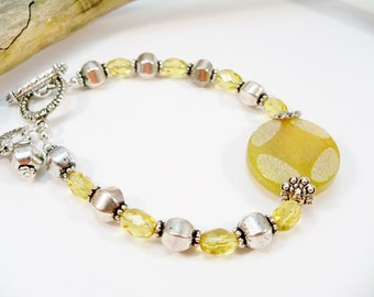 Yellow Single Strand Bracelet, Yellow and Silver Beads, Buttercup, Women's Bracelet, Gifts for Her,