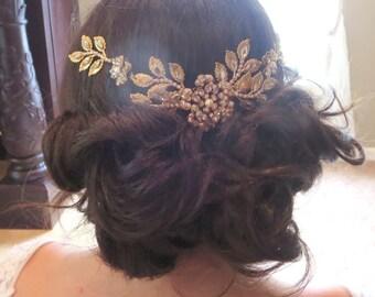 Antique Gold Wedding headpiece, Crystal Bridal hair combs, Wedding hair accessory, Leaf headpiece, Golden shadow crystal, Swarovski crystal
