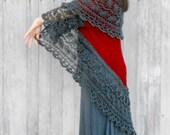 Knit Pattern:  shawl PDF pattern file, De-Vinely Bohemian Lace Shrug or wrap