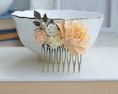 Peach Rose Flower Comb. Ivory, Brass Leaf, Pearl Flower Hair Comb. Bridesmaids Gift, Bridal Hair Accessory. Peach Wedding. For Her. Holiday