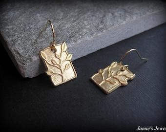 Gold Tree Earrings - Gold Modern Earrings -Everyday Gold Earrings - Gold Nature Earrings - Gold Tree Tag Earrings  - Gold Rectangle Earrings