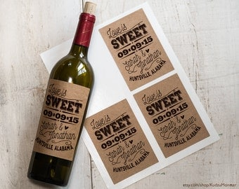 Kraft wine labels custom design stickers save the date, wedding party favors, bridal shower bottles set of 4 bride and groom names and date