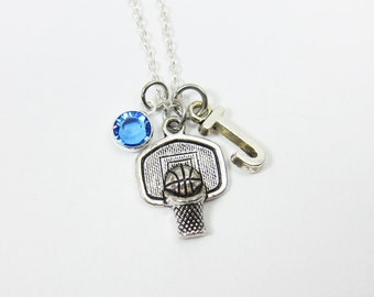 Basketball Necklace - Bball Hoop, Personalized Sport, Initial Name, Customized Swarovski crystal birthstone