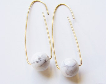 SALE White Turquoise Ball Earrings Marble Gold Filled