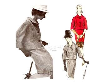 Vintage 60s Vogue Couturier 1277 Womens Suit Pattern, Kimono Sleeve Jacket, Straight Skirt, Bust 34, John Cavanagh of London Couture, Uncut