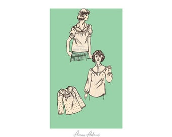 1970s Blouse Pattern Anne Adams 4721, Bust 40 Pullover Tops, Gathered Yoke, Sleeve & Collar Variations, Uncut, Vintage Sewing Patterns