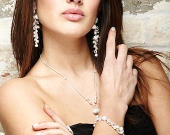 Pearl Crystal Bracelet,Cluster Bracelet,Delicate Bridal Jewelry,Swarovski Crystal White Pearls,Rhinestone Sterling,Wedding Jewelry