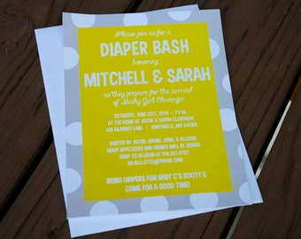 Baby Shower Invitations -- Diaper Shower Invitations -- Gender Neutral Baby Shower Invitations -- Diaper Party