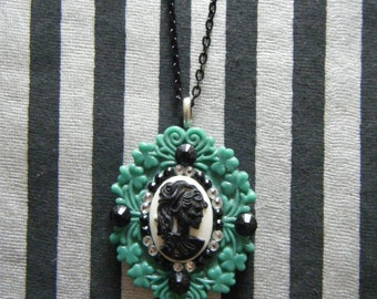 Lady skeleton zombie lolita hand cast and hand embellished cameo pendant necklace