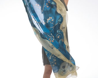 Hand Painted Silk Shawl- The Bolero Steps/ Navy Blue scarf handpainted/ Luxury shawl/ Art Deco scarf/ Summer scarves/ Birthday gift for her