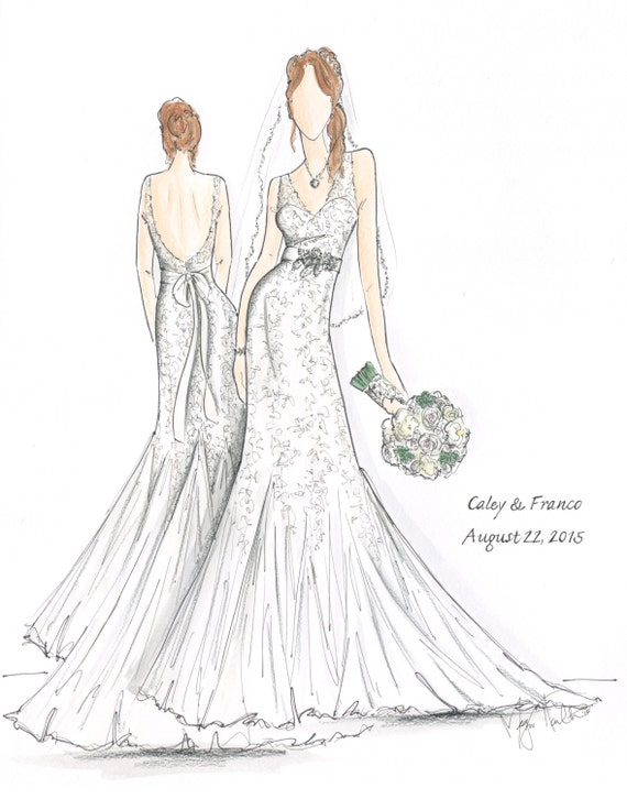 custom full body bridal gown illustrations by meganhamilton