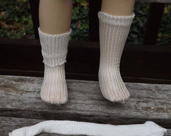 "Vintage White Rayon Socks for 16"" 18"" 20"" Dolls"