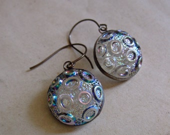 Iridescent Glass Button Earrings Recycled Jewelry