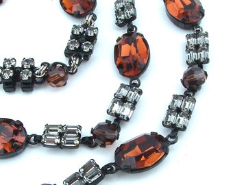 WOW Statement Necklace, Glass Stone Rhinestone Long Maple Amber Necklace Faux Diamond Vintage Jewelry
