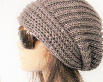 Hand Knit Hat- Womens hat - chunky knit Slouchy Beanie  Slouchy  Hat  Gift for her  Fall Winter Accessories  beret taupe knit accessories