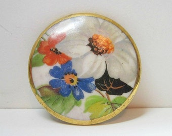 Large Vintage Floral Porcelain Brooch - Transfer - Hand Painted - 1940s - Flowers
