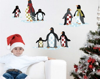 Patterned Penguins Wall Decals, Removable & Reusable