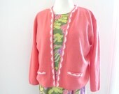 Pink Jackie O Sweater Vintage 50s 60s Pale Rose Cardigan Jacket NonWool Buttonless Open Front Cardigan Blazer Grapefruit Sorbet. on sale