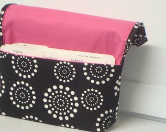 Coupon Organizer / Budget Organizer Holder Cash Holder Coupon Wallet  Attaches to Your Cart - Black with White Dotted Circles Hot Pink Lined