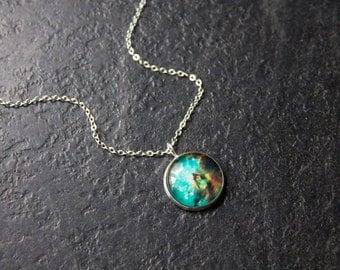 Tiny Rainbow Nebula Necklace -  Galaxy Pendant Green Orion Constillation Glass Dome Necklace