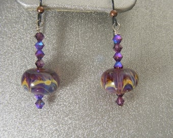 Boro Lampwork Earrings with Swarovski Crystals (ES10)