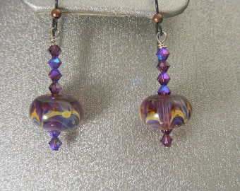 Boro Lampwork Earrings with Swarovski Crystals (ES10)