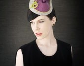 Sale - Grey Felt Cocktail Hat with Purple Leather and Green Trim