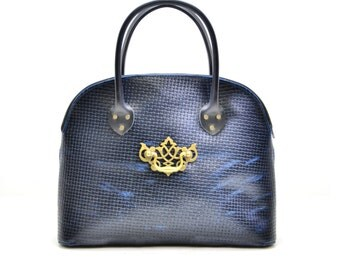Navy Blue Leather Handbag - Bowling Ball Leather Purse - Black and Blue Ladies Bag - Distressed Leather, wife gift IN STOCK