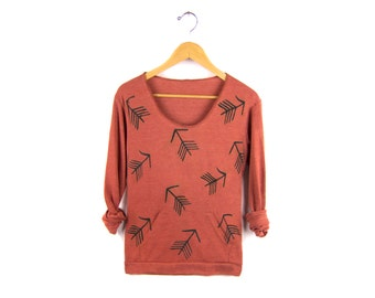 Tribal Arrow Pattern Hand Stenciled Slouchy Eco Heather Deep Scoop Neck Lightweight Sweatshirt in Heather Clay and Black - S M L XL